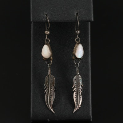 Southwestern Sterling Silver Mother of Pearl Feather Drop Earrings