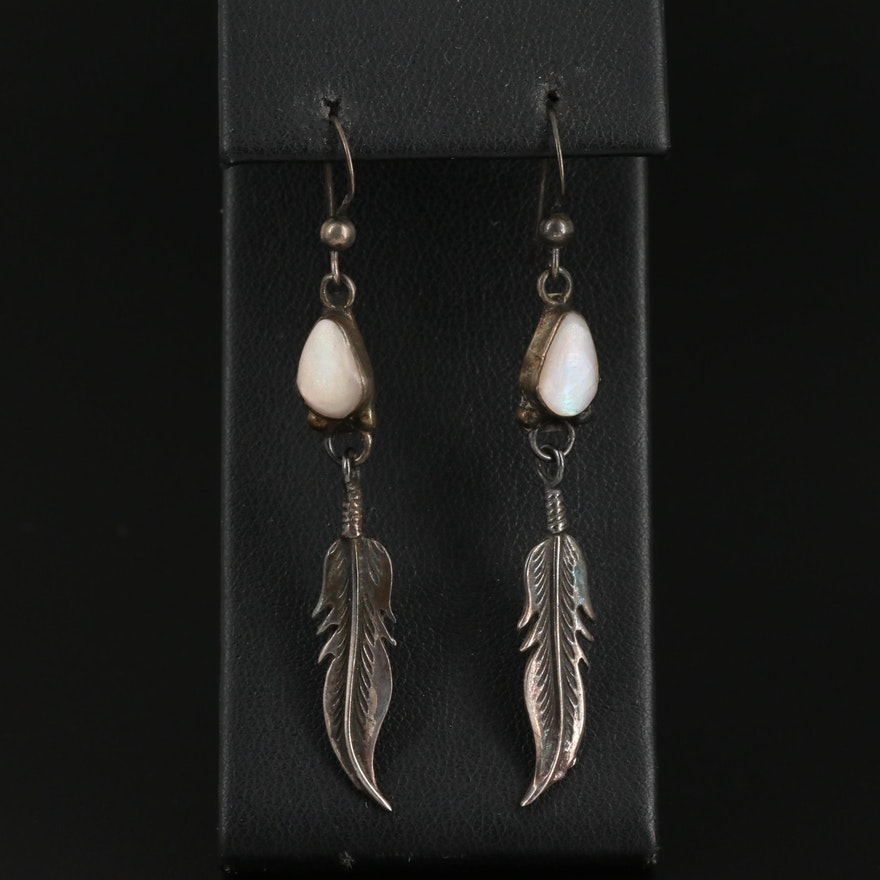 Southwestern Sterling Silver Mother of Pearl Feather Drop Earrings