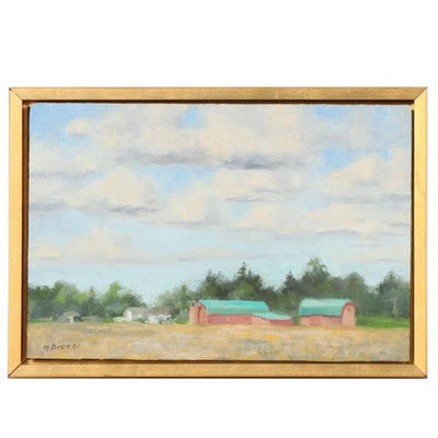 "Marcus Brewer Impressionist Style Oil Painting ""Ohio Farmland"""