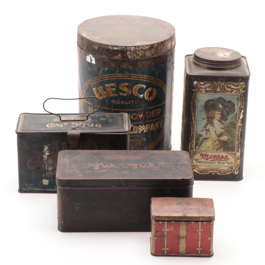 Food and Tobacco Printed Tins, Early to Mid 20th Century