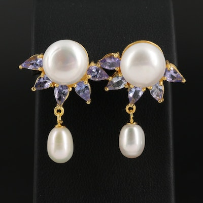 Sterling Silver Pearl and Tanzanite Drop Earrings