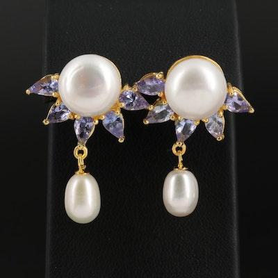 Sterling Silver Pearl and Tanzanite Drop Earrings