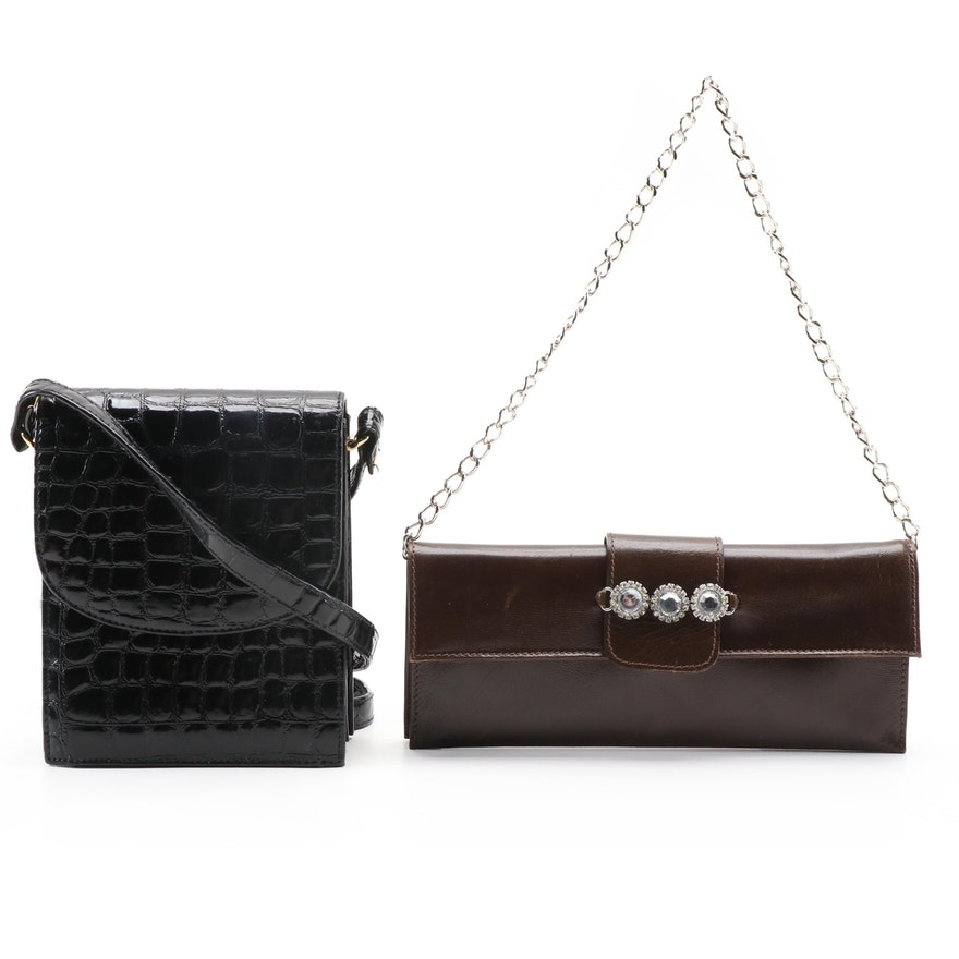 Suzy Smith Embossed Crossbody Bag with Embellished Brown Leather Clutch
