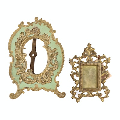 Victorian and Rococo Style Cast Metal Gilt Picture Frames