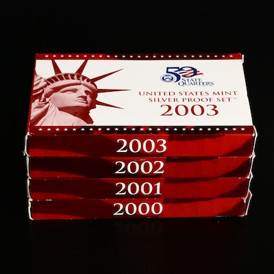 Four U.S. Mint Silver Proof Sets, 2000 to 2003