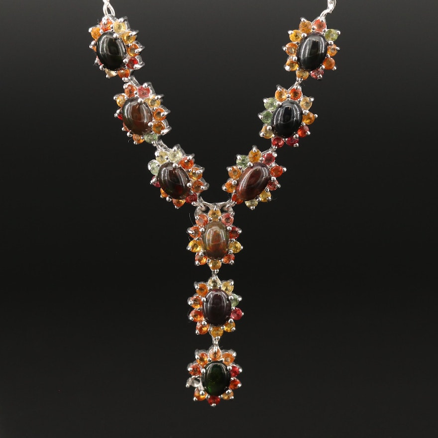 Sterling Silver Opal and Sapphire Lariat Necklace