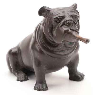 Bulldog Smoking Cigar Patinated Metal Figurine