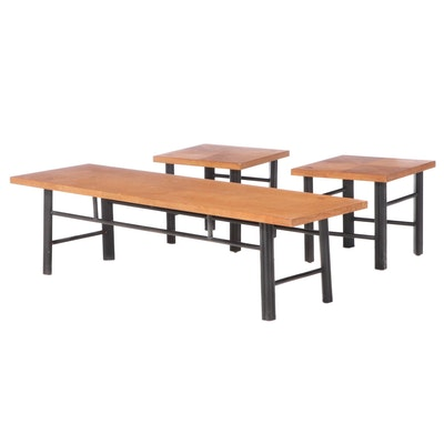 Three Baker Furniture Modernist Hardwood and Parcel-Ebonized Occasional Tables