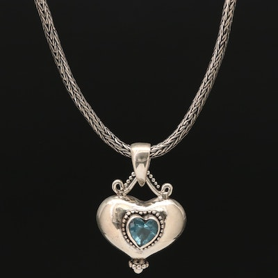 Sterling Silver Glass Heart Pendant Necklace