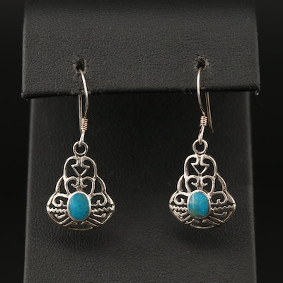 Southwestern Style Sterling Silver Turquoise Dangle Earrings