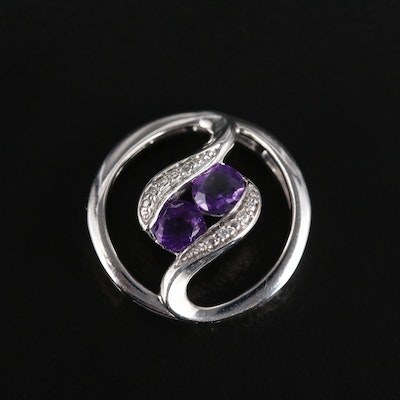 Sterling Silver Amethyst and Cubic Zirconia Slide Pendant