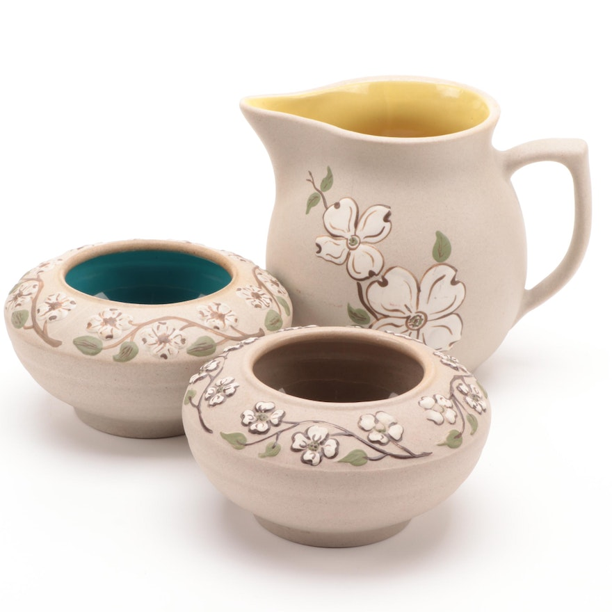 "Pigeon Forge Pottery ""Dogwood"" Pitcher and Bowls"