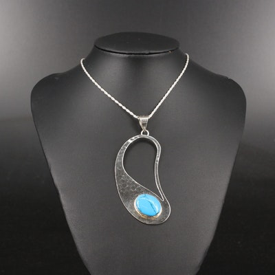 Mexican Sterling Silver Faux Turquoise Necklace