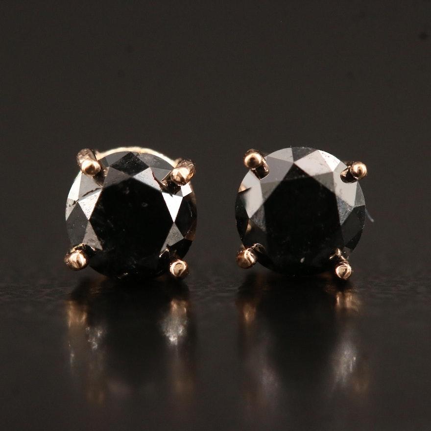 14K Rose Gold 0.82 CTW Black Diamond Stud Earrings