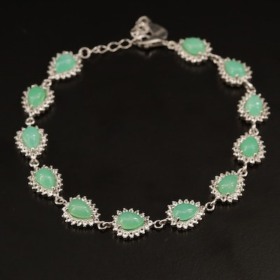 Sterling Silver Chrysoprase and Topaz Link Bracelet