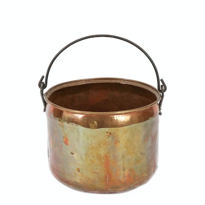 Hammered Copper Cauldron Pot, Late 19th-Early 20th Century