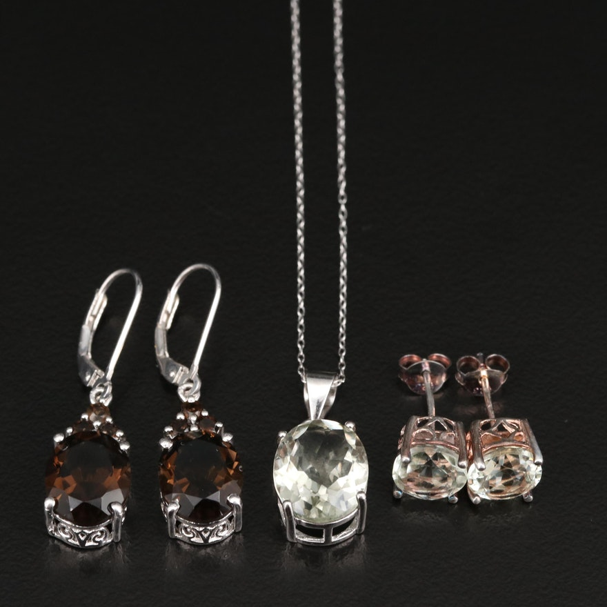 Selection of Sterling Jewelry with Prasiolite and Smoky Quartz