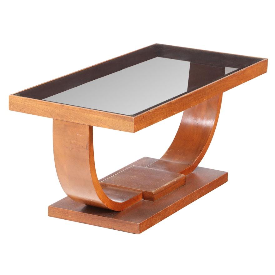 Mid Century Modern Glass Top Walnut Coffee Table, Mid 20th Century