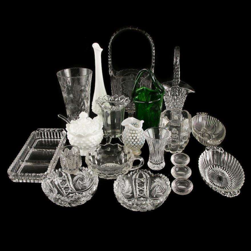 Twenty Pieces of Cut, Pressed and Milk Glass Featuring Fenton, Fostoria