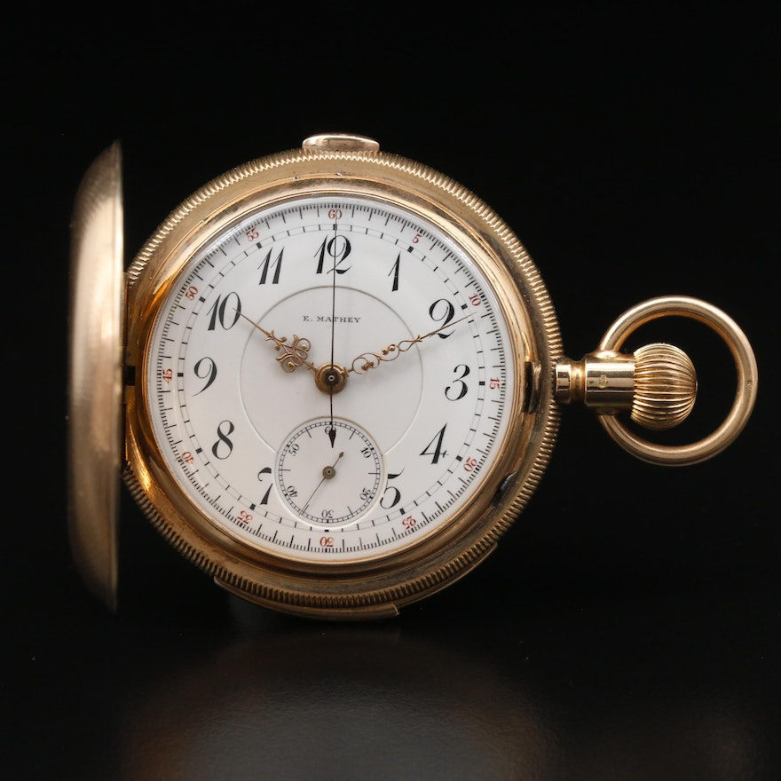 "14K E. Mathey ""Minute Repeater"" Chronograph Pocket Watch, Circa 1890"