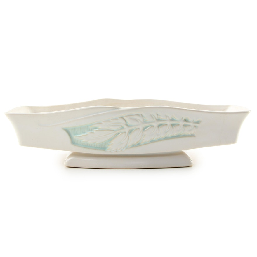 Roseville Pottery White Floral Silhouette Planter, Mid-20th Century