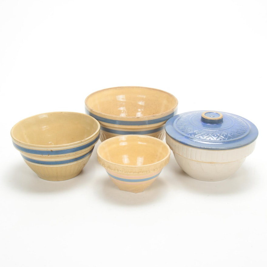 Yellow Ware Mixing Bowls and Lid, Early to Mid 20th Century