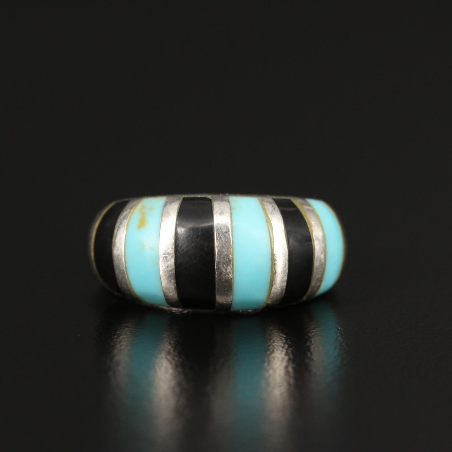 Sterling Silver Turquoise and Black Onyx Dome Ring