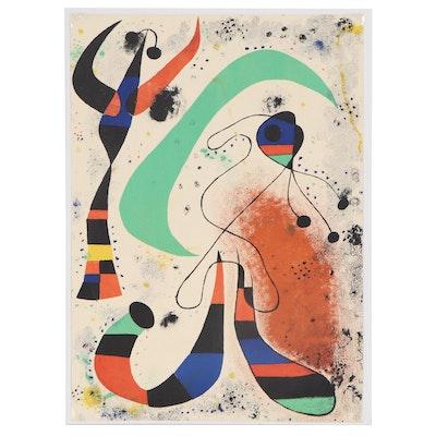 """Joan Miró Double-Sided Color Lithograph for """"Derrière le Miroir"""", 1953"""