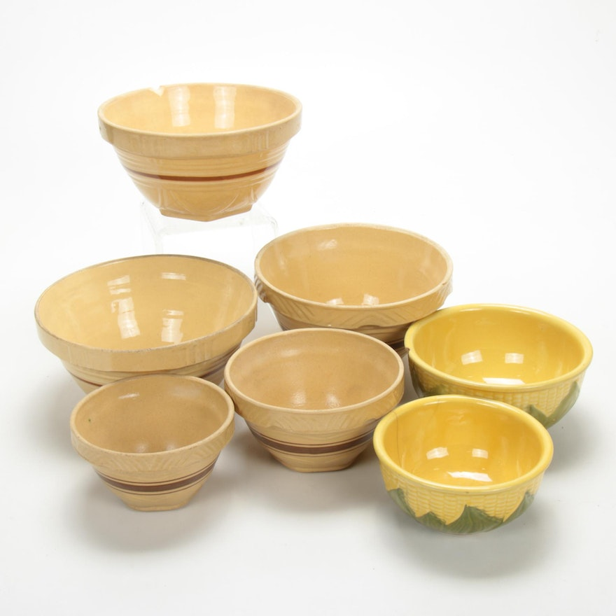 "Shawnee Pottery ""Corn King"" and Yellow Ware  Stoneware Bowls, Early-Mid 20th C."
