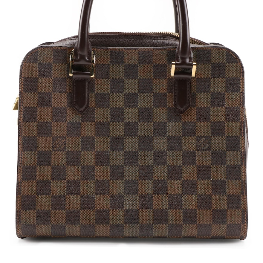 Louis Vuitton Triana Bag in Damier Ebene Canvas with Brown Leather Trim