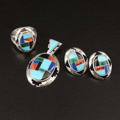 Western Style Relios Sterling Inlay Earrings and Ring with Carlisle Pendant