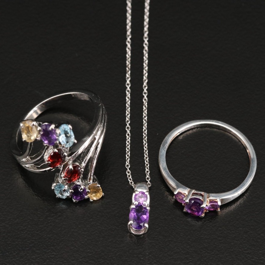Sterling and Stainless Steel Jewelry Featuring Amethyst , Topaz and Citrine