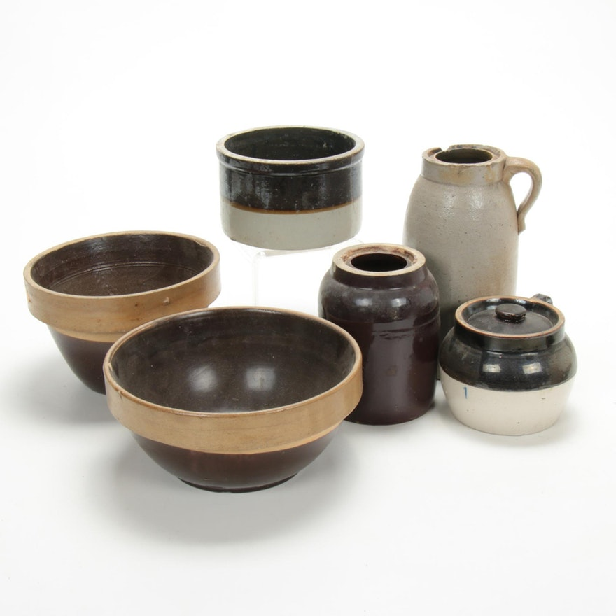 Salt and Brown Dip Glazed Stoneware Crocks, Jugs, Bowls, Late 19th/Early 20th C