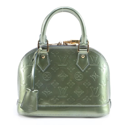 Louis Vuitton Alma BB in Vert Olive Monogram Vernis and Smooth Leather