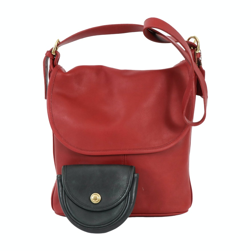 Coach Whitney Red Leather Shoulder Bag and Black Leather Mini Waist Purse