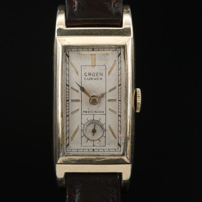 "1930s Gruen ""Curvex"" Precision 14K Gold Filled Stem Wind Wristwatch"