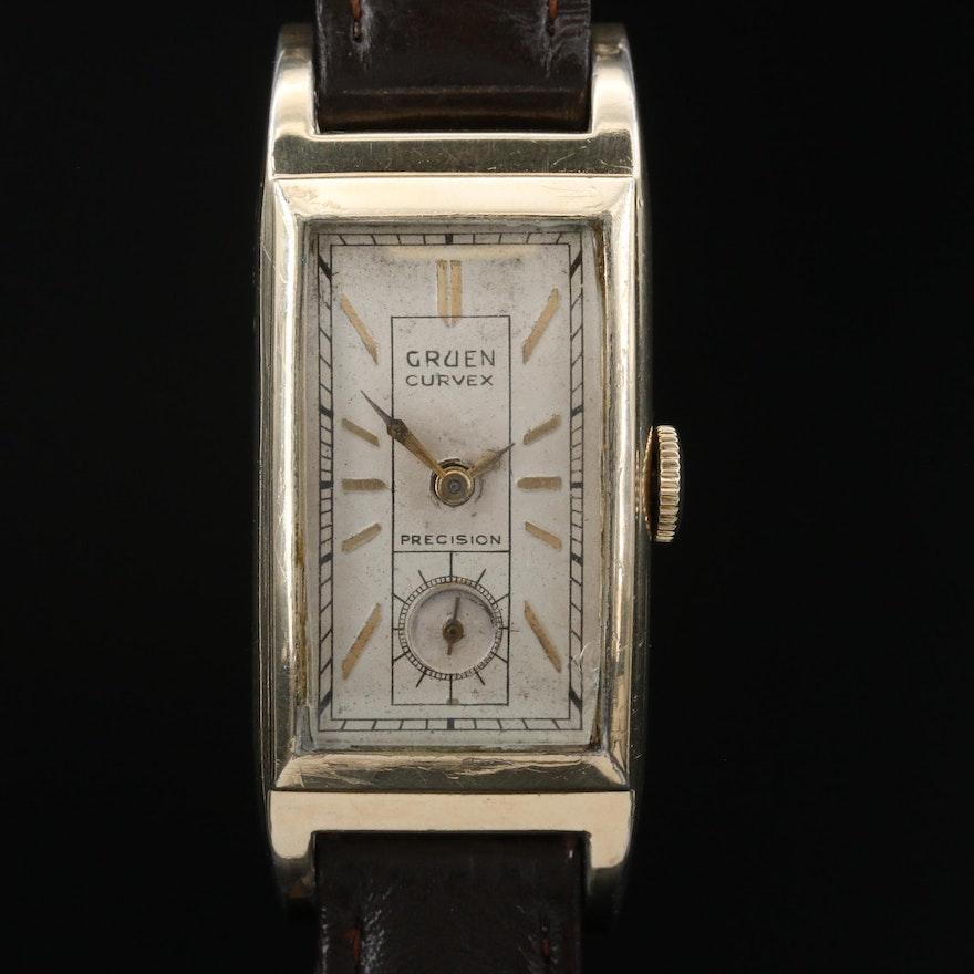 """1930s Gruen """"Curvex"""" Precision 14K Gold Filled Stem Wind Wristwatch"""