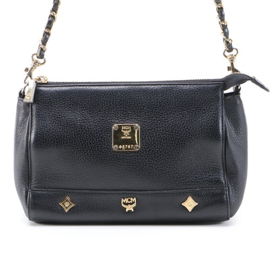 MCM Small Leather Shoulder Bag in Black with Chain Strap