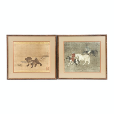 "Lithographs ""Puppy Carrying a Pheasant Feather"" and Men on Horses"