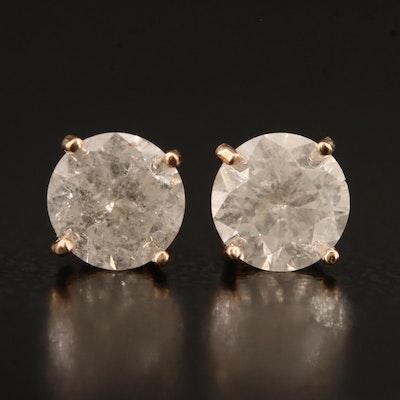 14K Rose Gold 1.18 CTW Diamond Stud Earrings