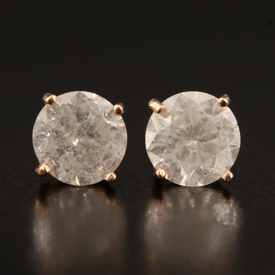 14K Rose Gold 1.18 CTW Diamond Stud Earrings