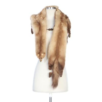 Stone Marten Fur Pelt Stole, Vintage