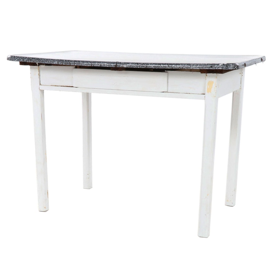 Painted Wood and Enamel Top Kitchen Work Table, Early to Mid 20th Century