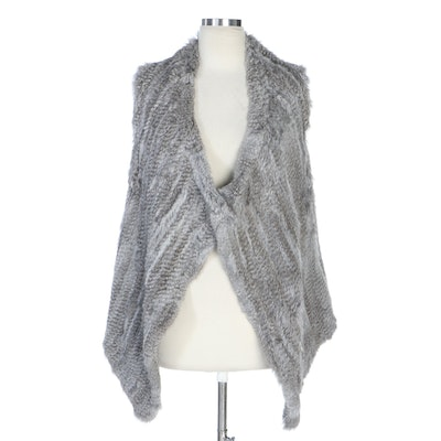 C by Bloomingdale's Gray Rabbit Fur and Cashmere Draped Knit Vest