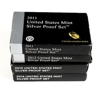 Four U.S. Mint Silver Proof Sets, Including Key Date Set of 2012