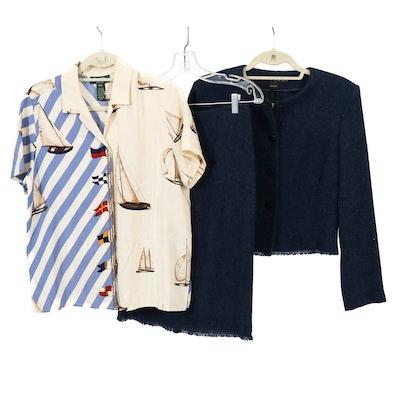Ralph Lauren Black Label Cashmere and Alpaca Skirt Suit with Silk Print Blouse