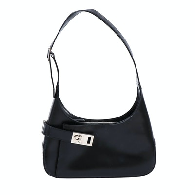 Salvatore Ferragamo Gancini Black Leather Handbag