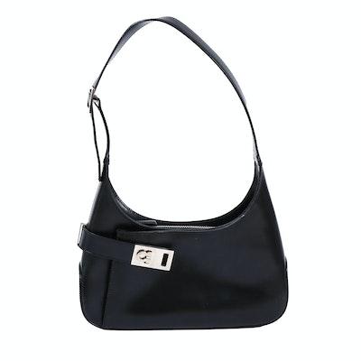Salvatore Ferragamo Gancini Black Leather Handbag