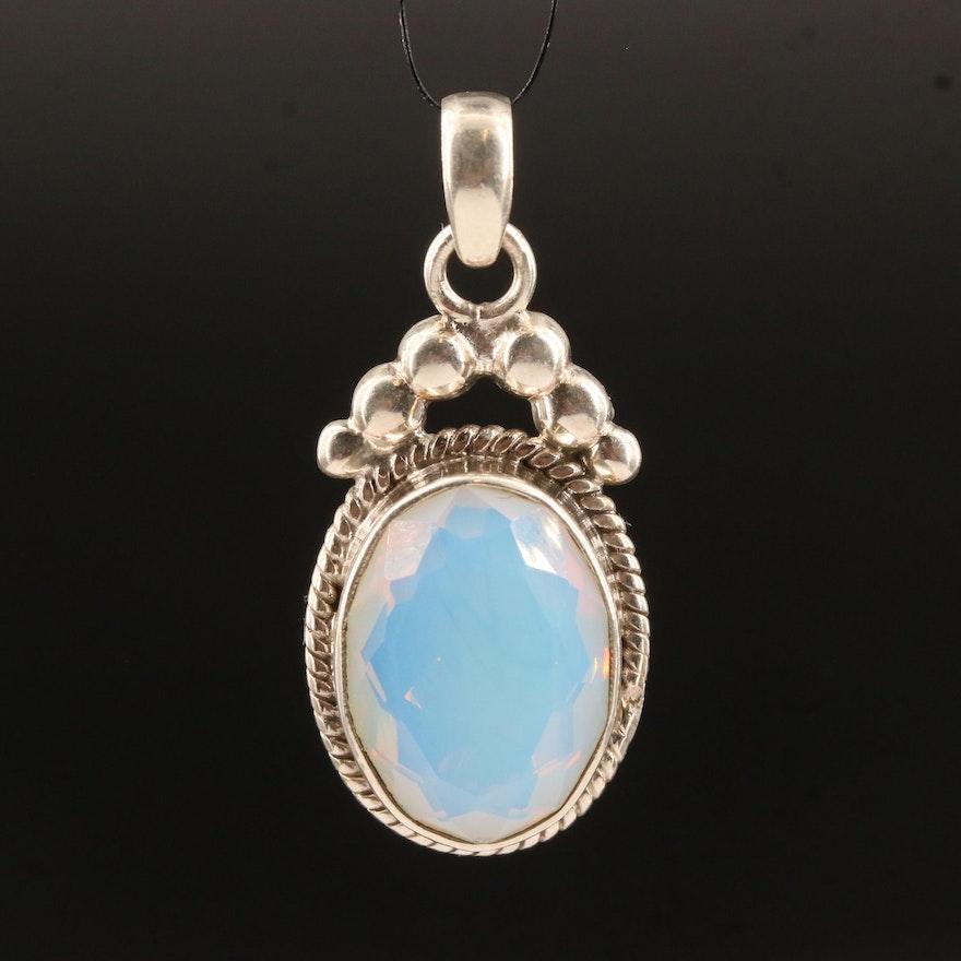 Sterling Silver Opalite Glass Pendant