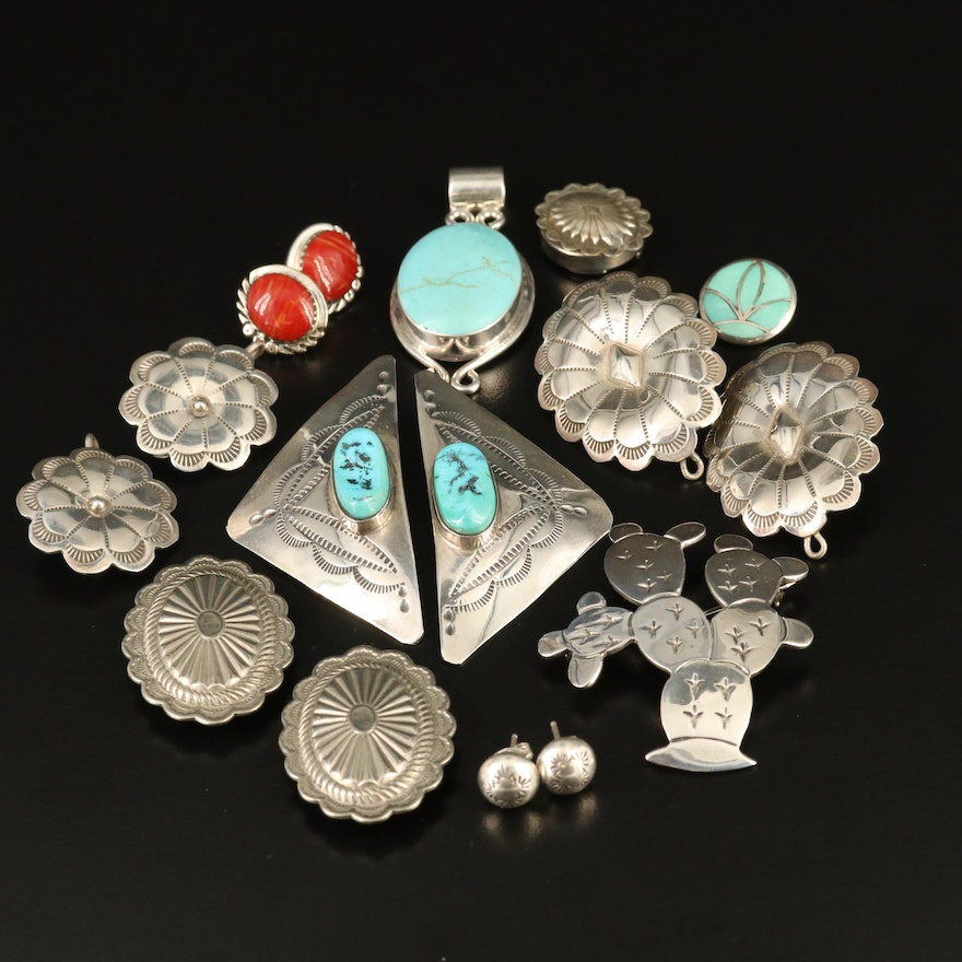 Artist Signed Southwestern Style Sterling Silver Jewelry with Gemstone Accents